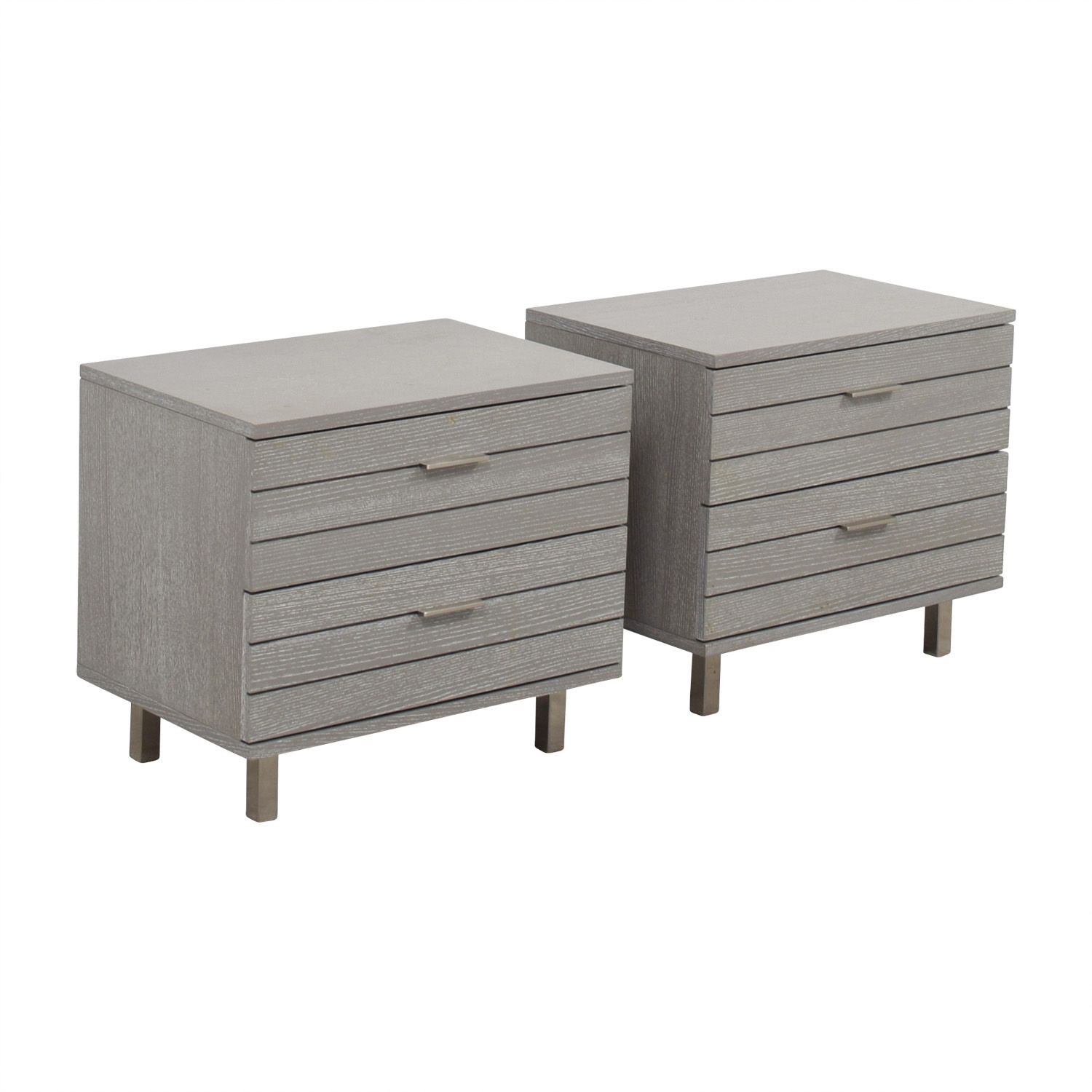 CB2 CB2 Grey Two-Drawer Night Stands Tables