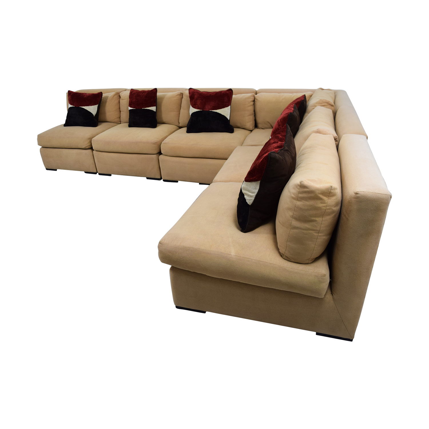 ... Kreiss Kreiss Tan L Shaped Sectional With Toss Pillows Second Hand ...