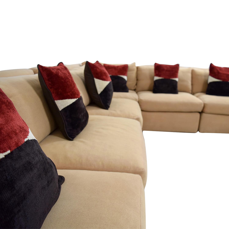 Kreiss Kreiss Tan L-Shaped Sectional with Toss Pillows Sectionals