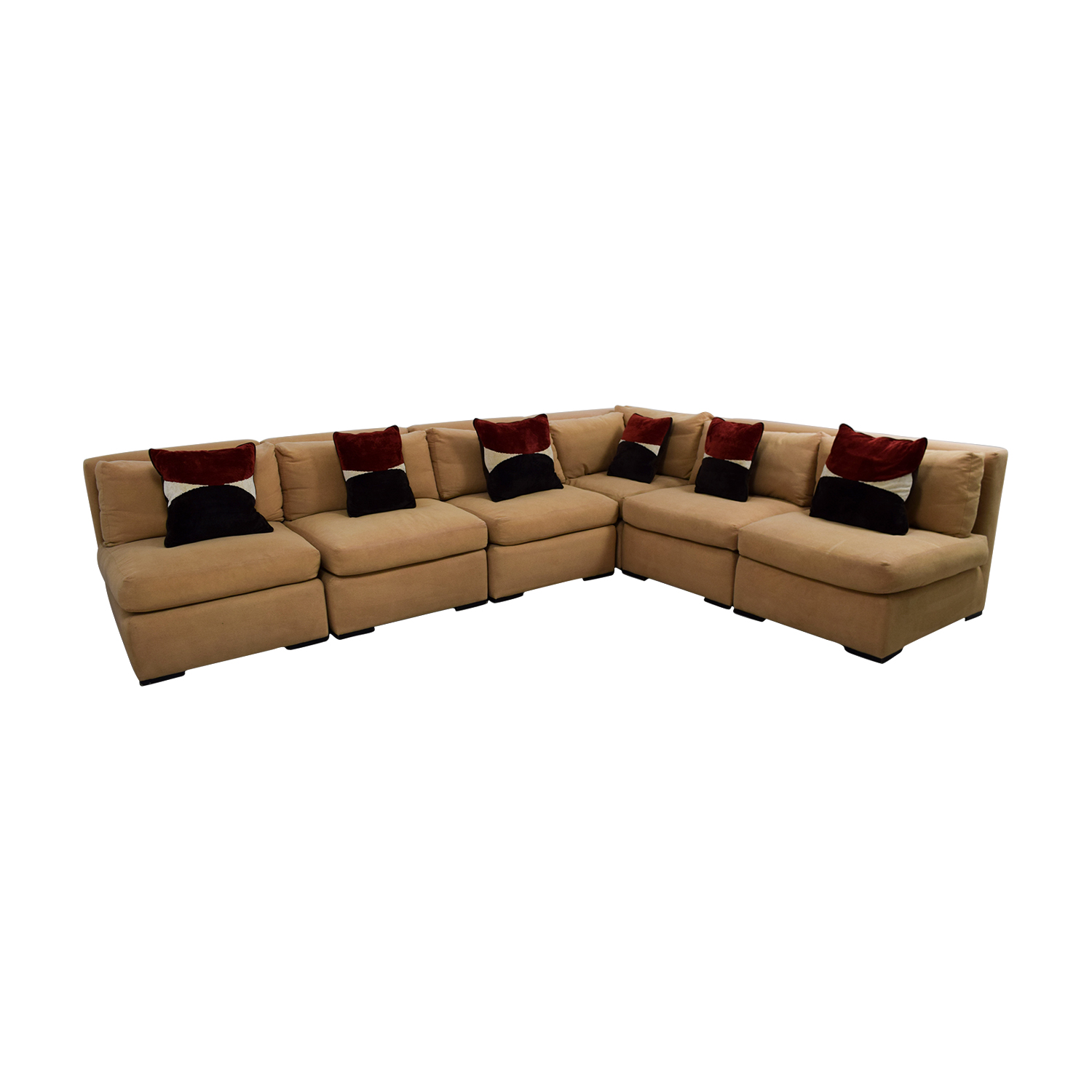 Kreiss Tan L-Shaped Sectional with Toss Pillows / Sectionals