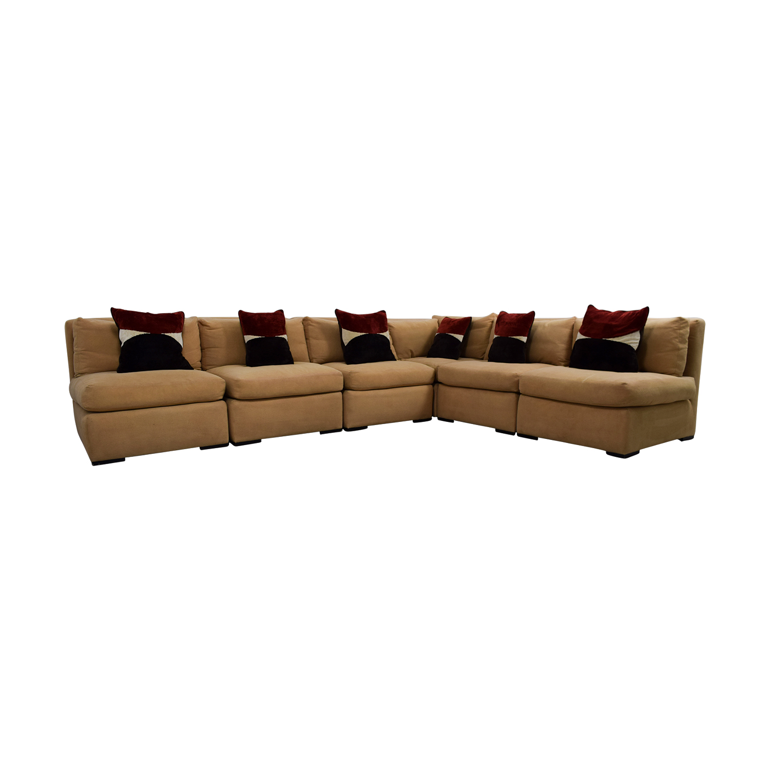 Kreiss Tan L Shaped Sectional With Toss Pillows Second Hand