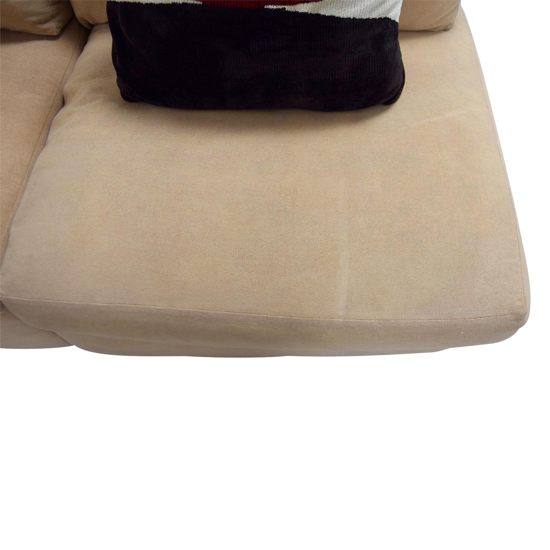 buy Kreiss Tan L-Shaped Sectional with Toss Pillows Kreiss Sectionals