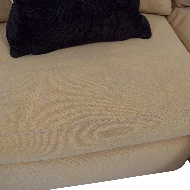 Kreiss Tan L-Shaped Sectional with Toss Pillows Kreiss