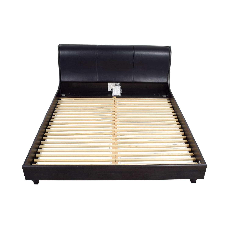 Jensen Lewis Black Leather King Bed Frame / Bed Frames