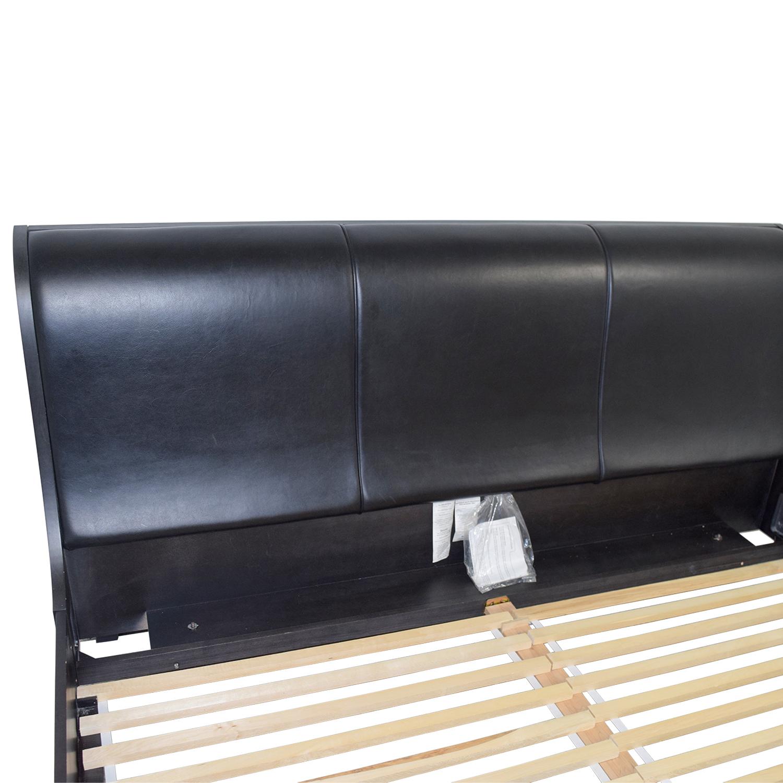 Jensen Lewis Jensen Lewis Black Leather King Bed Frame Black