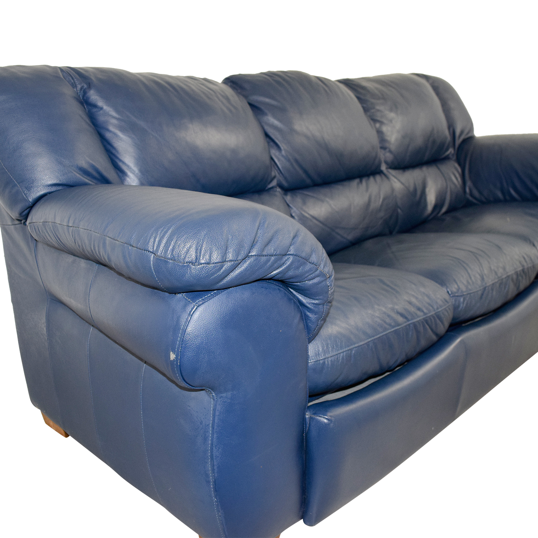 Macys Macys Navy Blue Leather Three-Cushion Sofa price