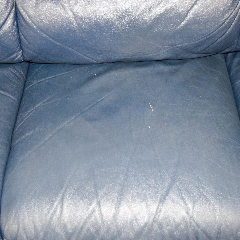 buy Macys Navy Blue Leather Three-Cushion Sofa Macys Sofas