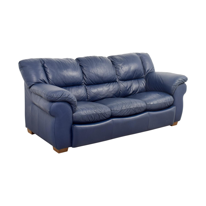 Macys Navy Blue Leather Three-Cushion Sofa Macys