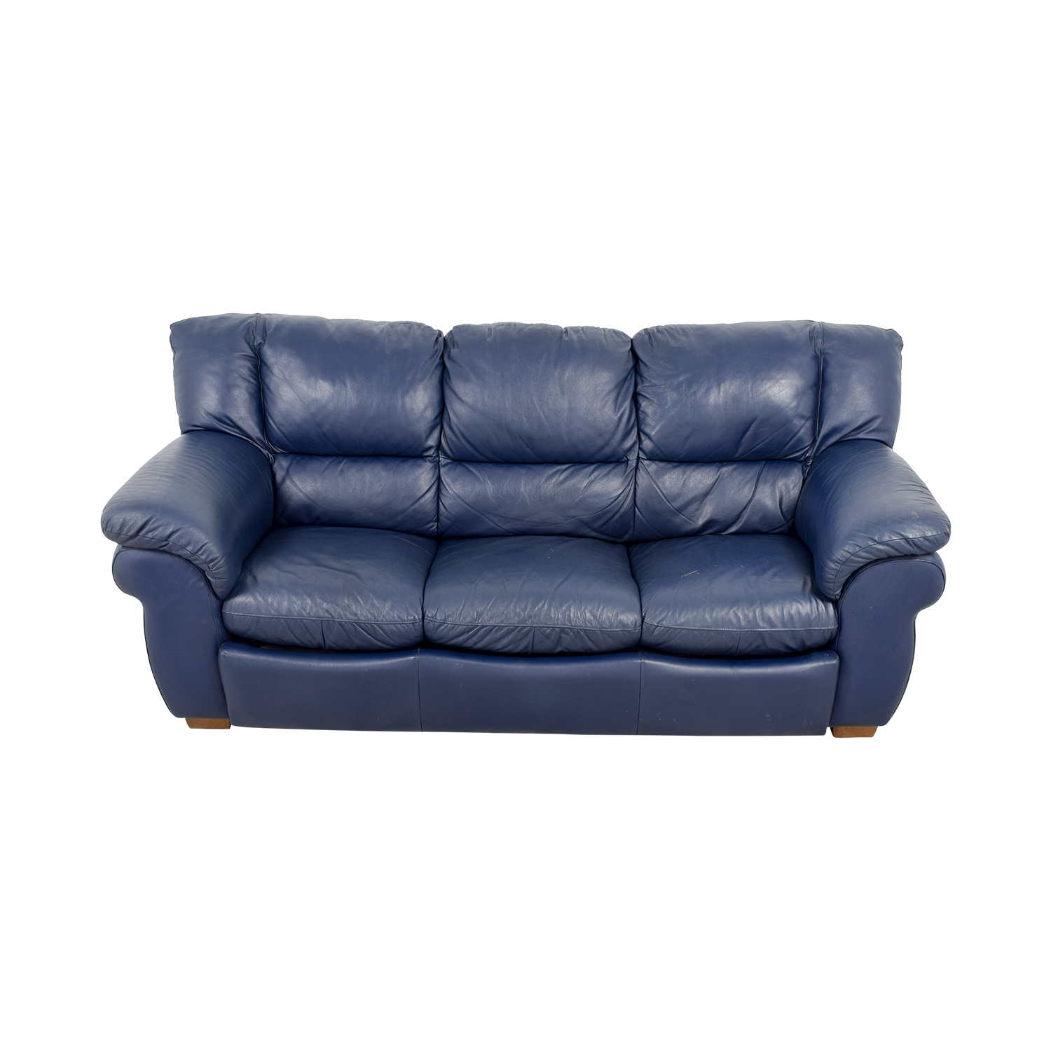86% OFF - Macy\'s Macy\'s Navy Blue Leather Three-Cushion Sofa / Sofas