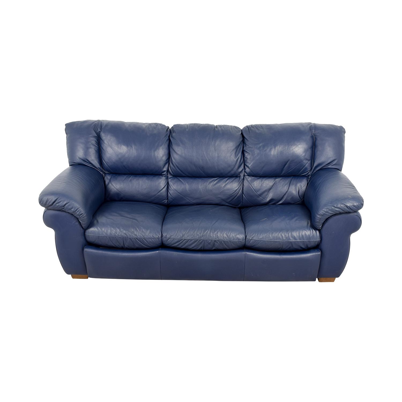 Wondrous 86 Off Macys Macys Navy Blue Leather Three Cushion Sofa Sofas Machost Co Dining Chair Design Ideas Machostcouk