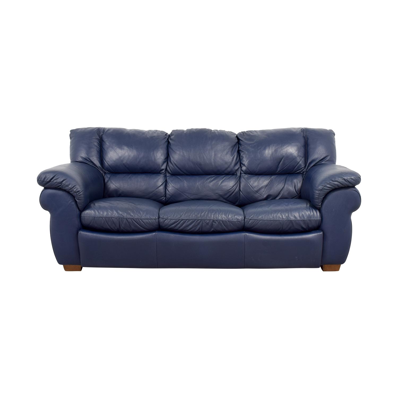 Macys Navy Blue Leather Three-Cushion Sofa / Sofas