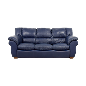 Macy's Macy's Navy Blue Leather Three-Cushion Sofa nyc