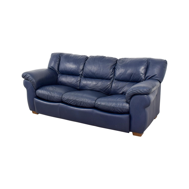 Groovy 86 Off Macys Macys Navy Blue Leather Three Cushion Sofa Sofas Machost Co Dining Chair Design Ideas Machostcouk