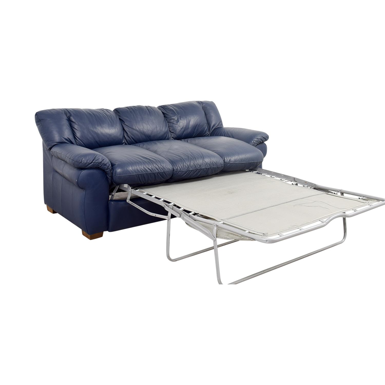 Macys Macys Navy Blue Leather Three-Cushion Sofa dimensions