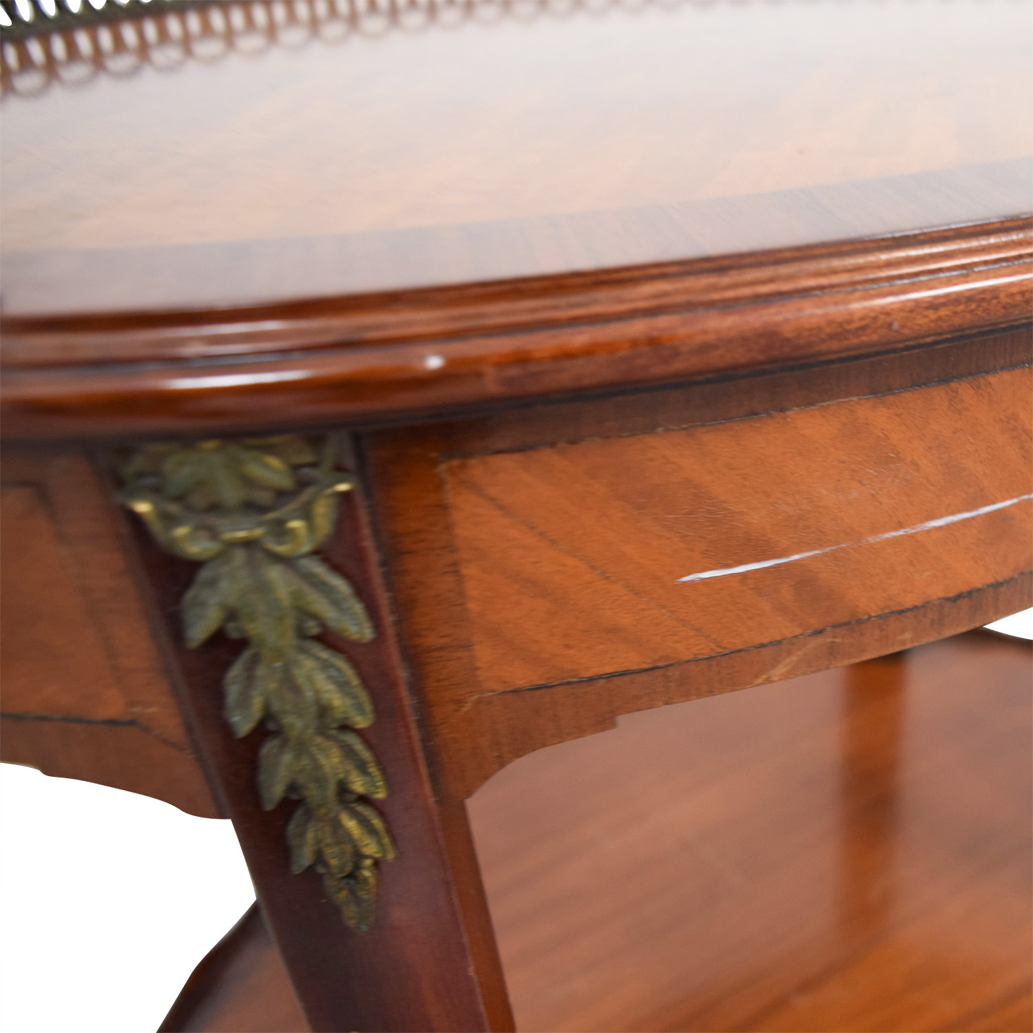 Furniture Masters Furniture Masters Oval End Table with Scalloped and Brass Edges dimensions