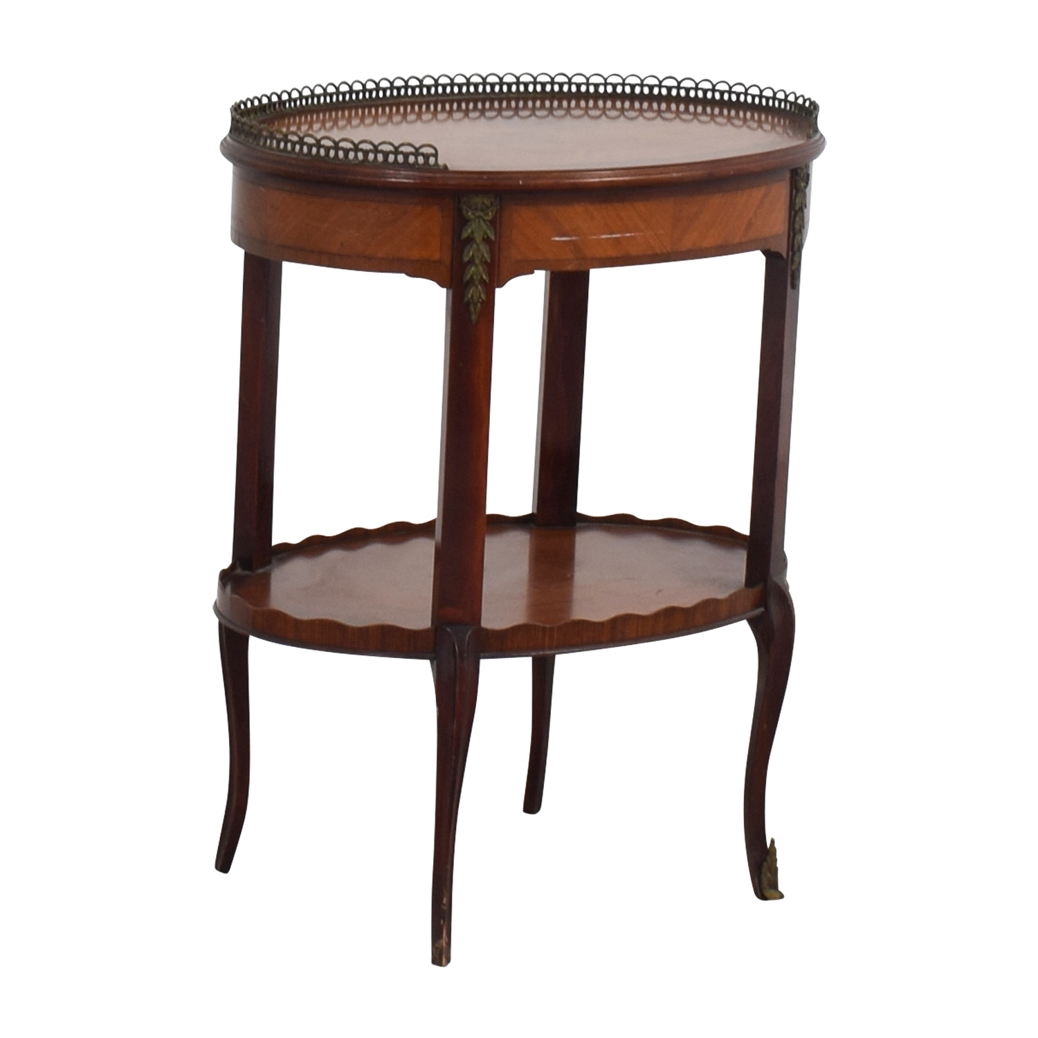 buy Furniture Masters Oval End Table with Scalloped and Brass Edges Furniture Masters End Tables