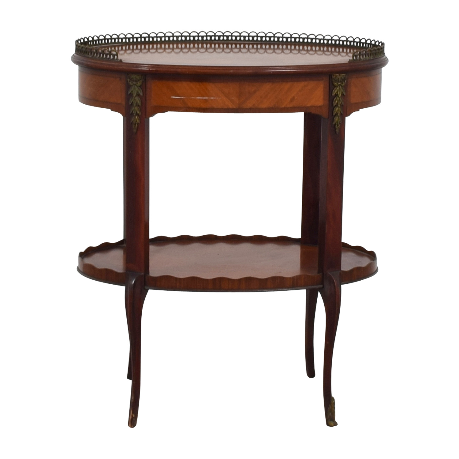 Furniture Masters Oval End Table with Scalloped and Brass Edges Furniture Masters