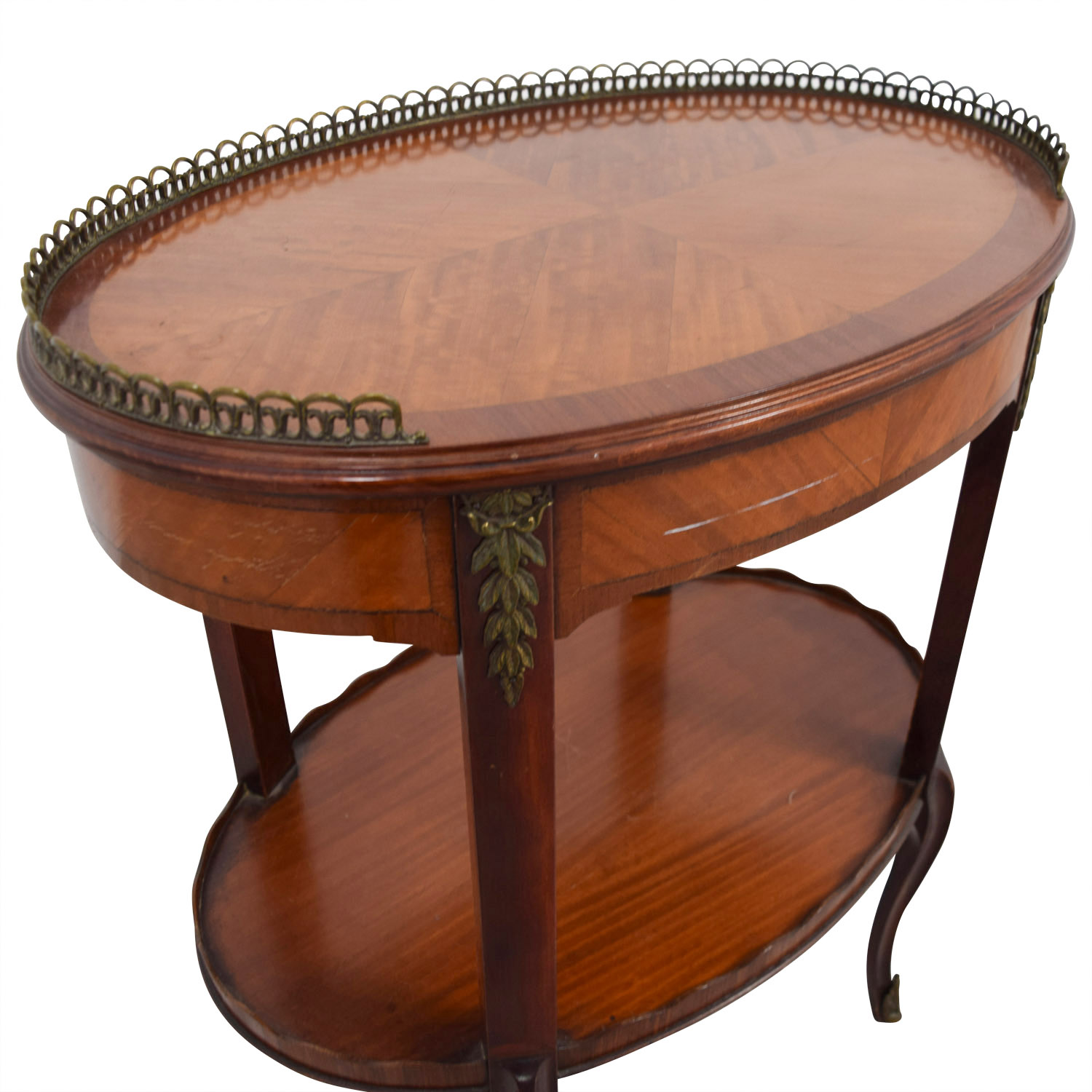 Furniture Masters Furniture Masters Oval End Table with Scalloped and Brass Edges price