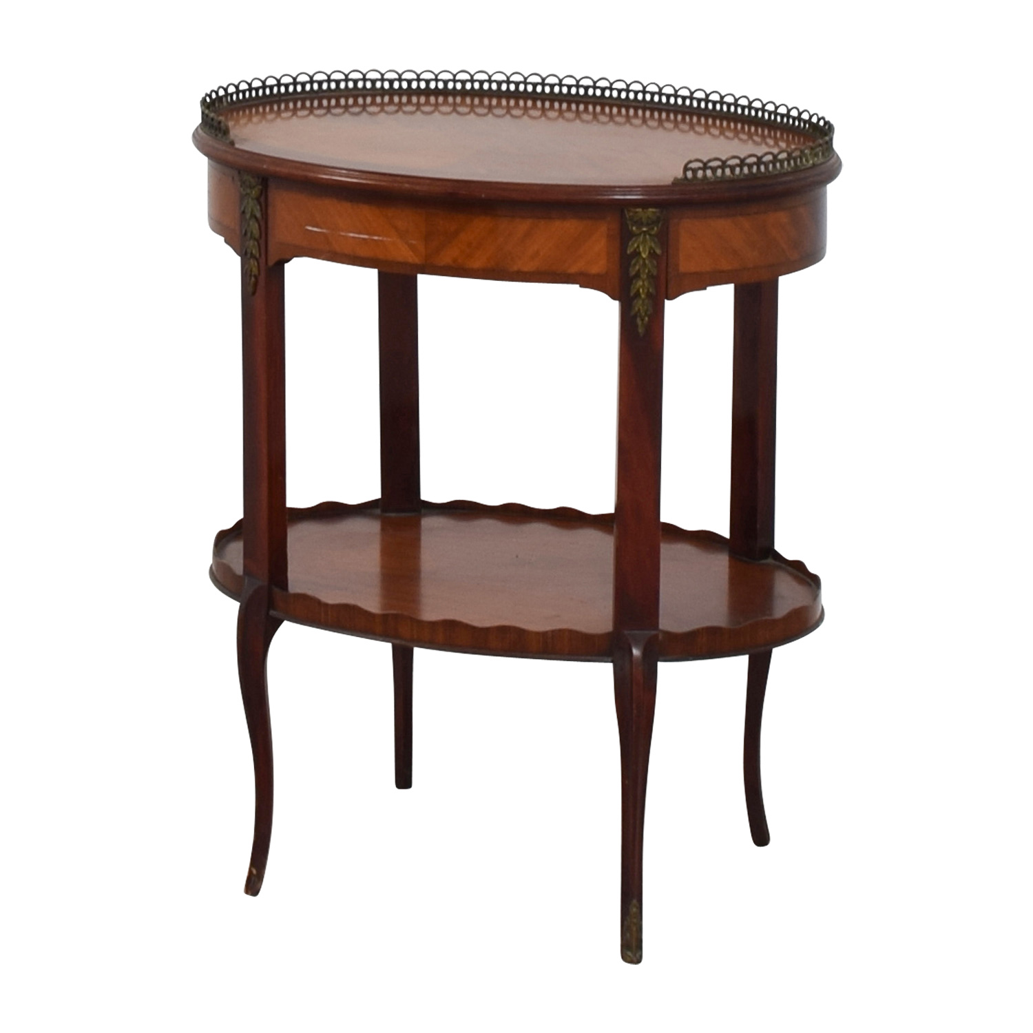 Furniture Masters Oval End Table with Scalloped and Brass Edges sale