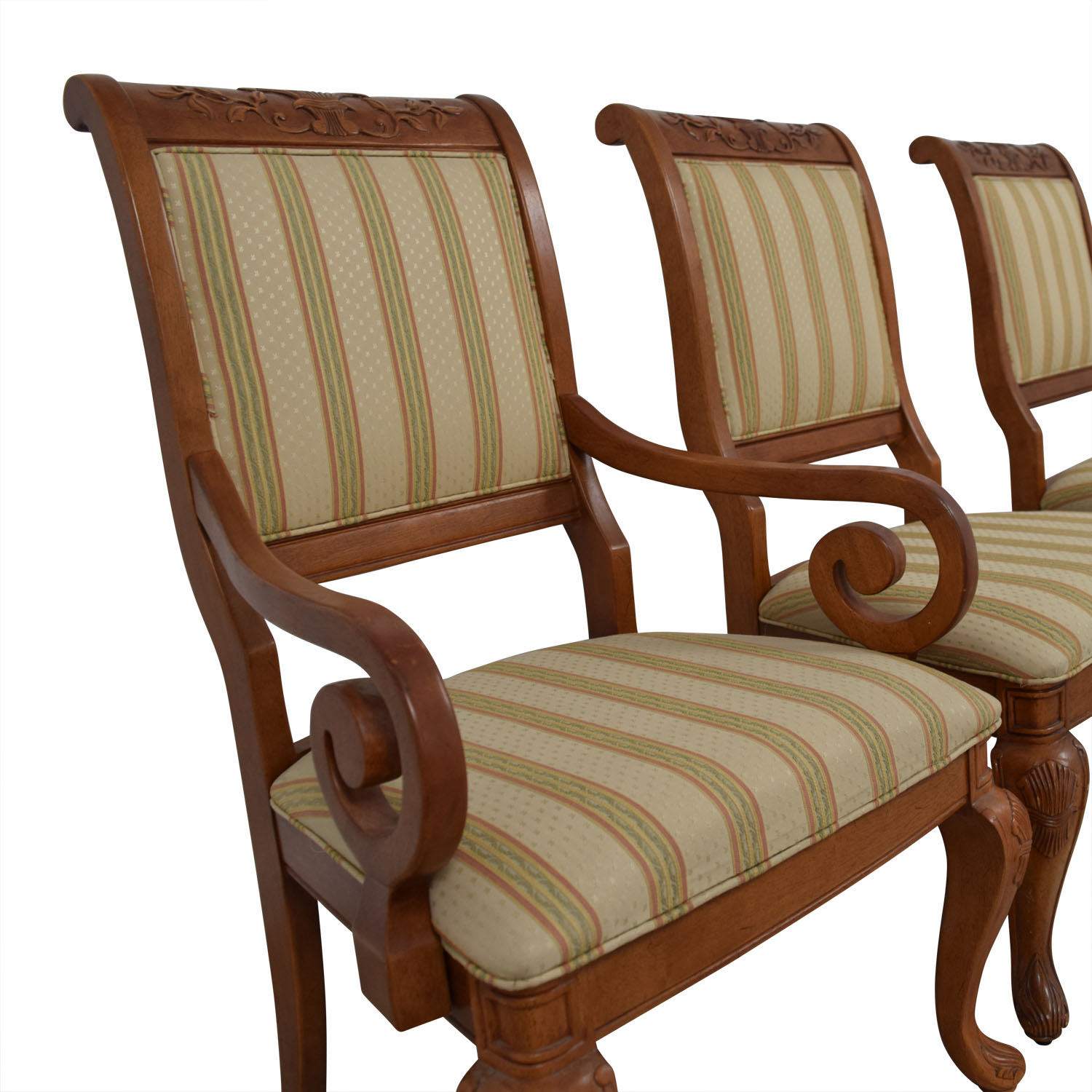 Furniture Masters Striped Upholstered Carved Dining Chairs / Dining Chairs