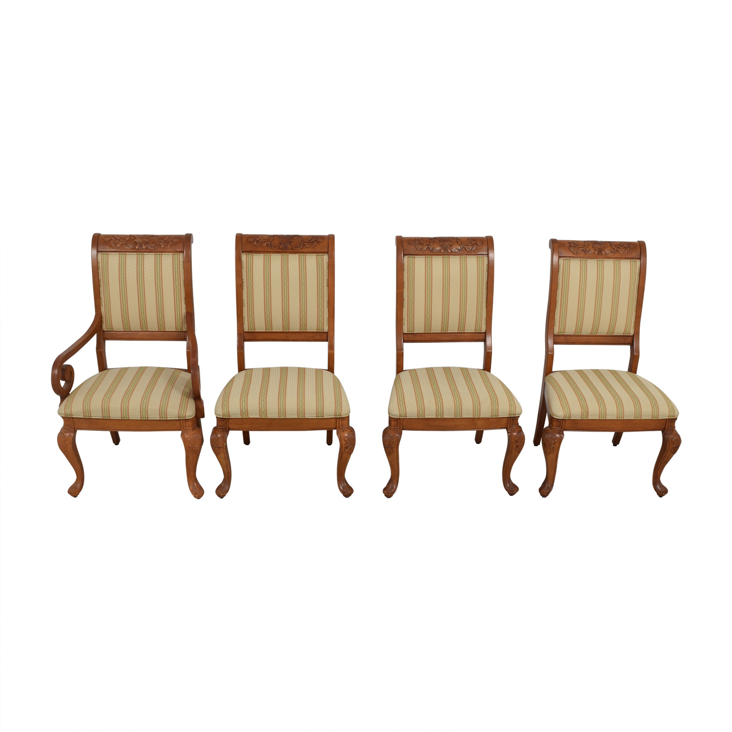Furniture Masters Striped Upholstered Carved Dining Chairs / Chairs