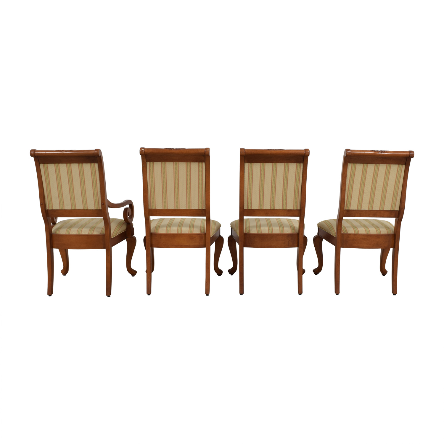 shop Furniture Masters Striped Upholstered Carved Dining Chairs Furniture Masters Dining Chairs