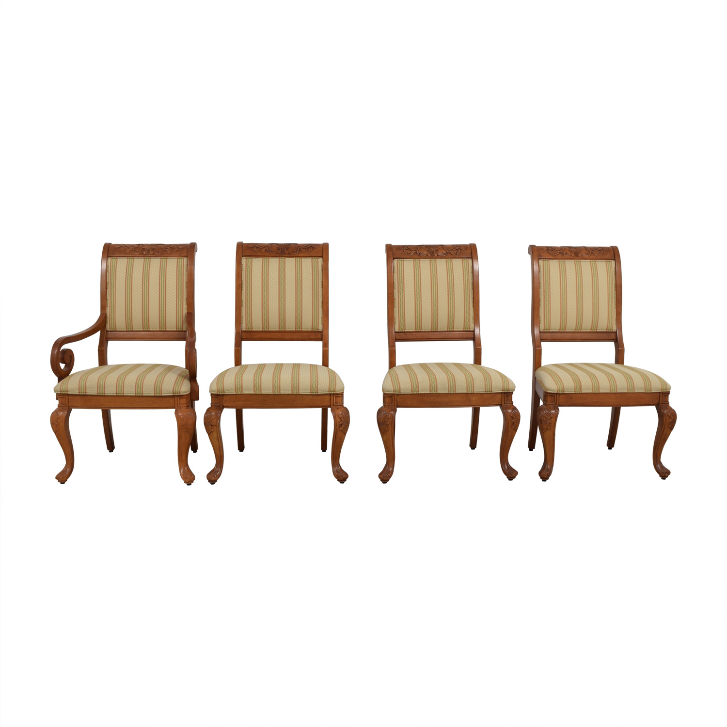 Furniture Masters Furniture Masters Striped Upholstered Carved Dining Chairs  Tan/Green/Pink/Pine ...