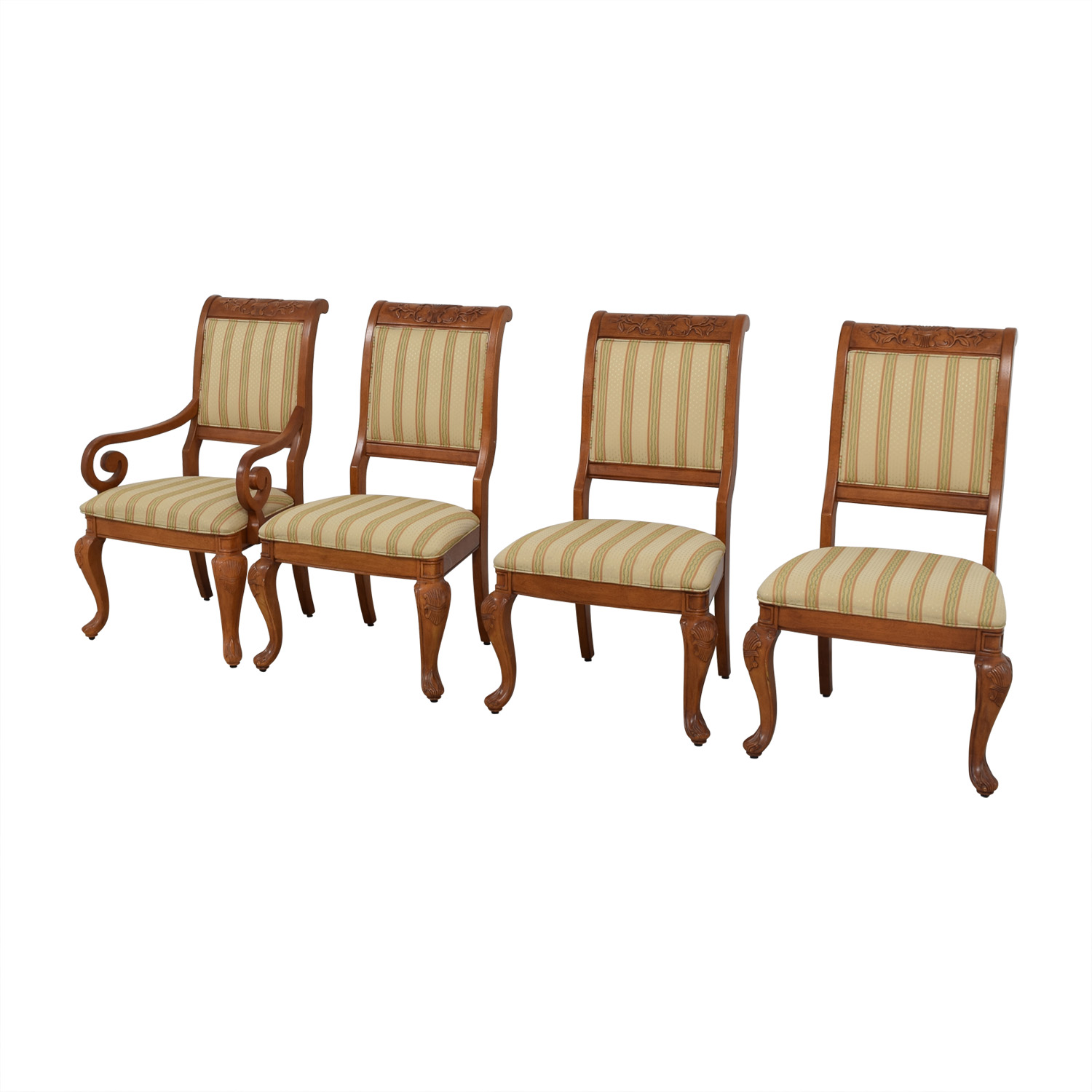 Furniture Masters Furniture Masters Striped Upholstered Carved Dining Chairs coupon