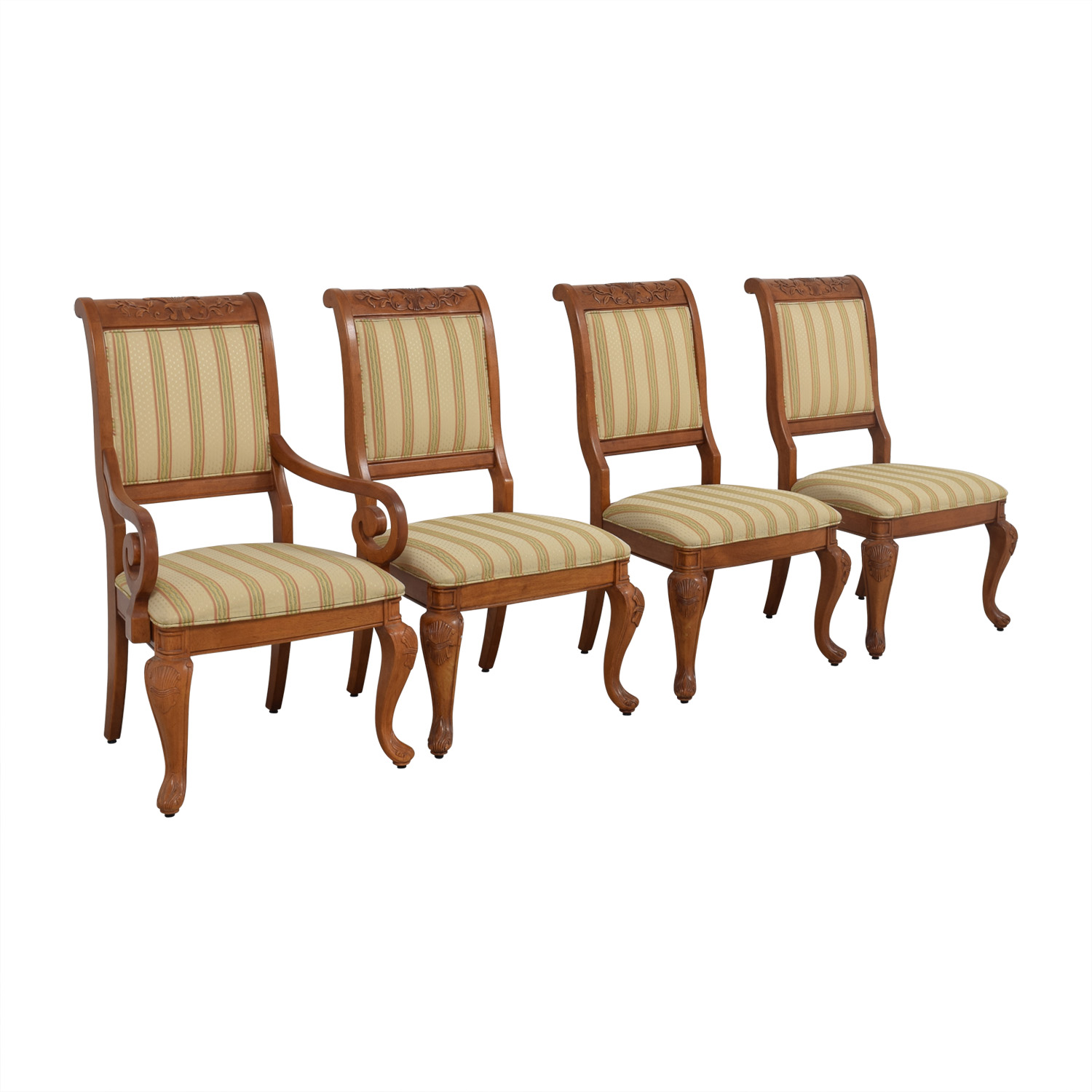 Furniture Masters Furniture Masters Striped Upholstered Carved Dining Chairs dimensions