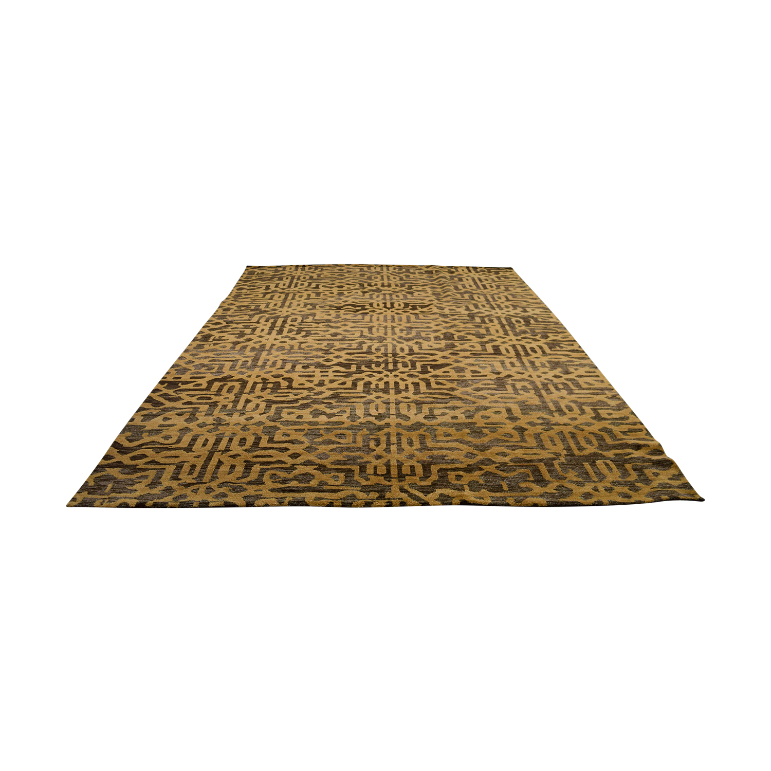 Obeetee Obeetee Lattice Brown and Tan Wool Rug White/Grey