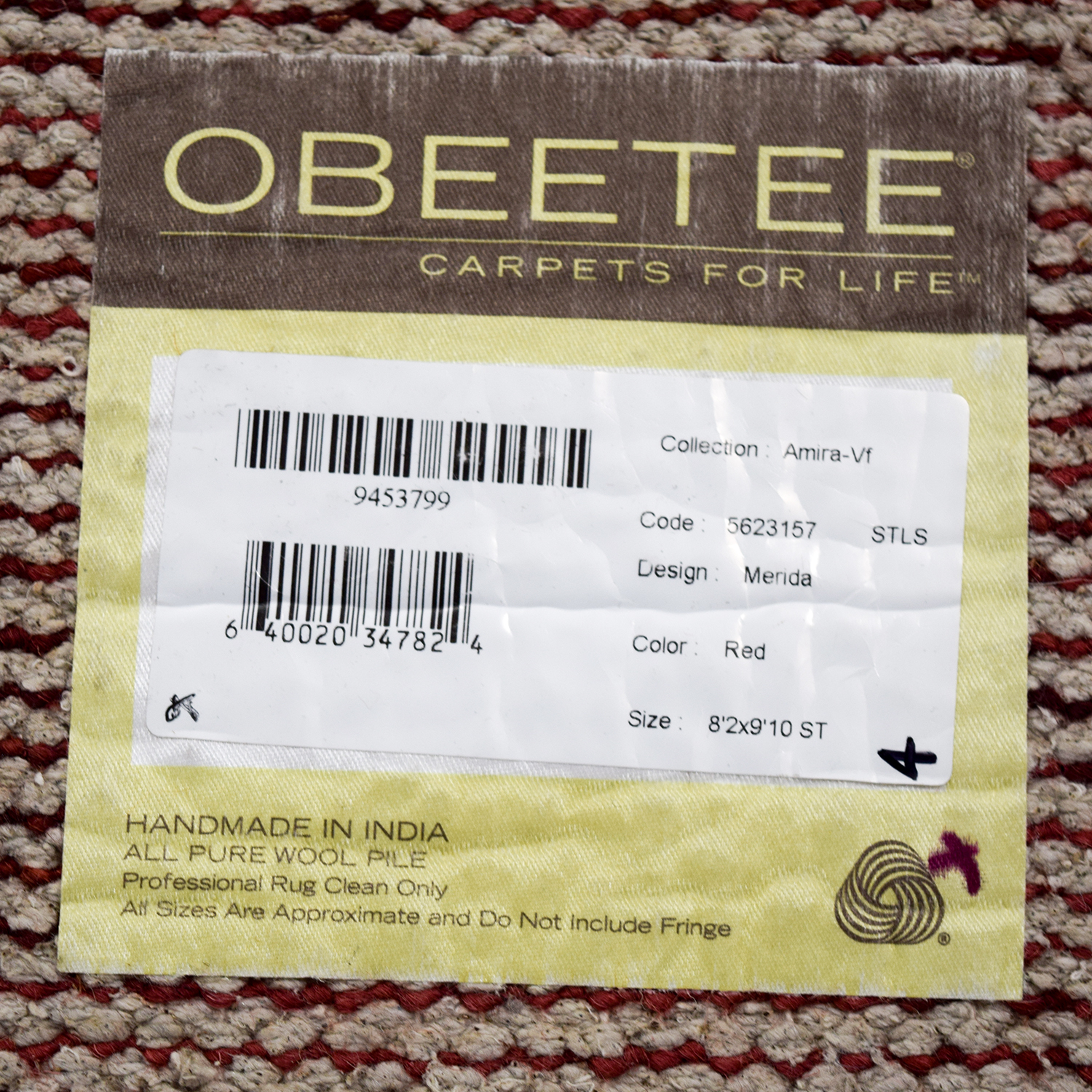 Obeetee Obeetee Hand Knotted Amira Paprika Wool Rug second hand