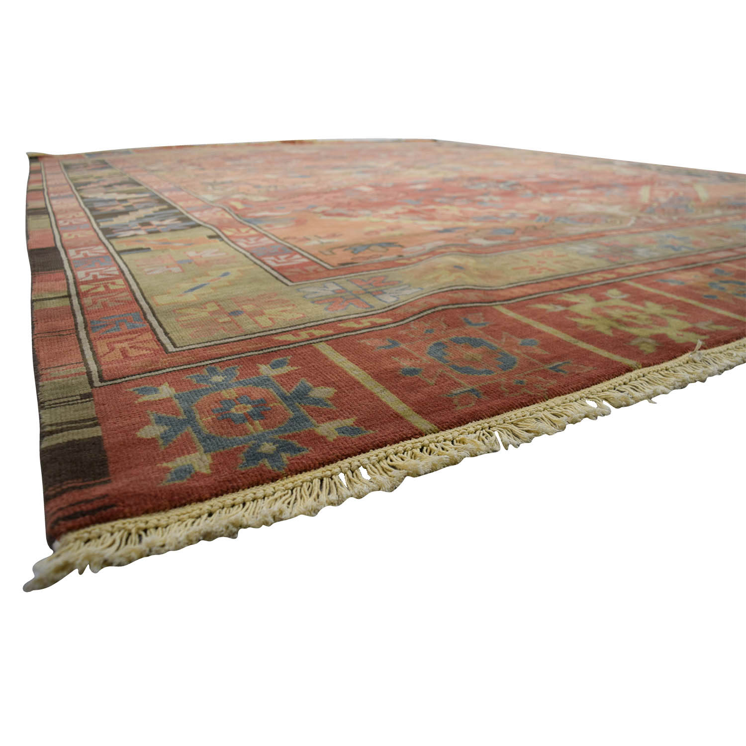 Obeetee Obeetee Kayseri Red Blue and Yellow Wool Rug Blue/Red/Orange/Yellow