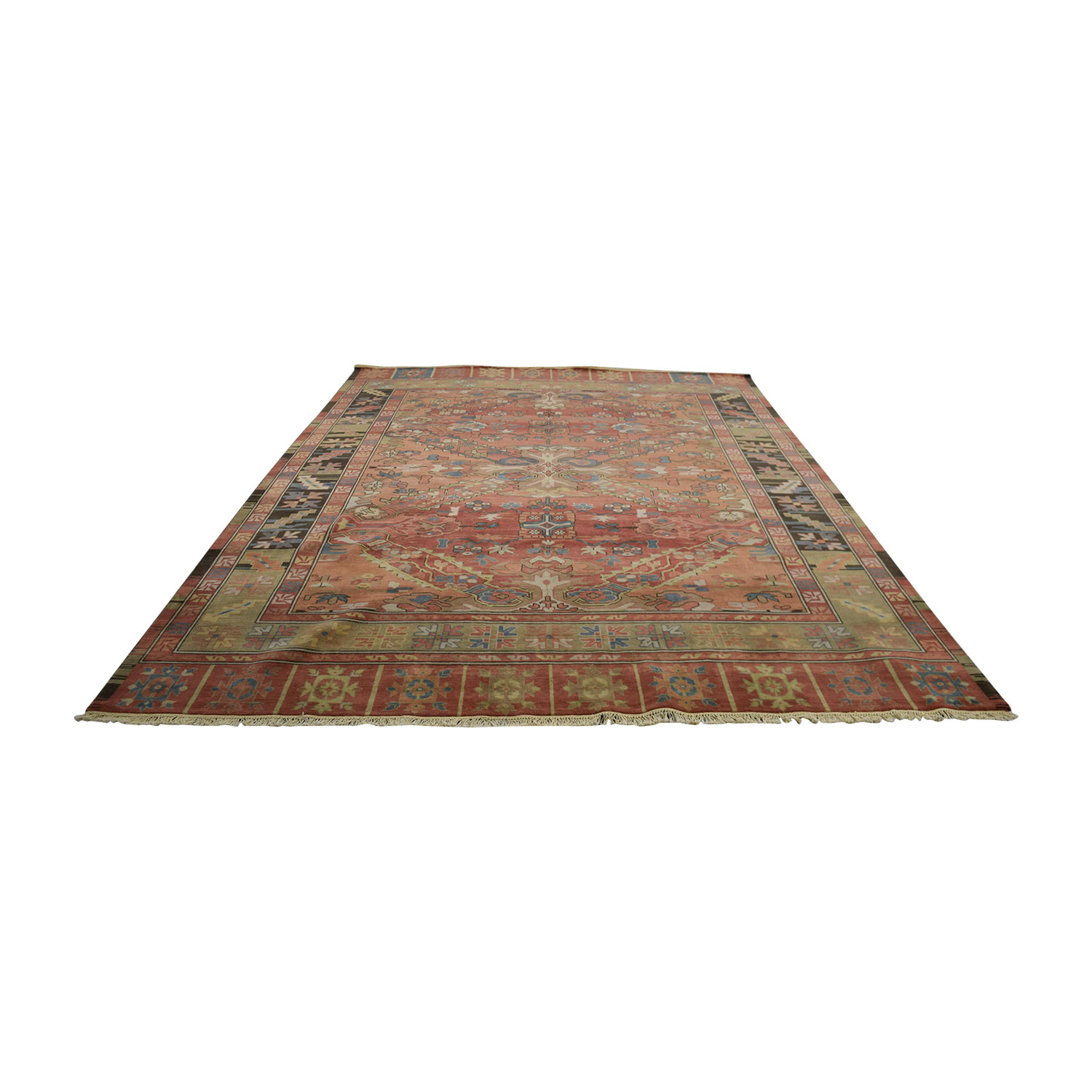 Obeetee Obeetee Kayseri Red Blue and Yellow Wool Rug dimensions