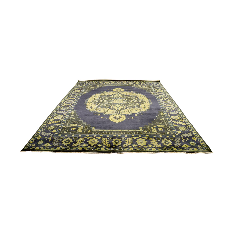 buy Obeetee Obeetee Heriz Grey Yellow and Brown Wool Rug online