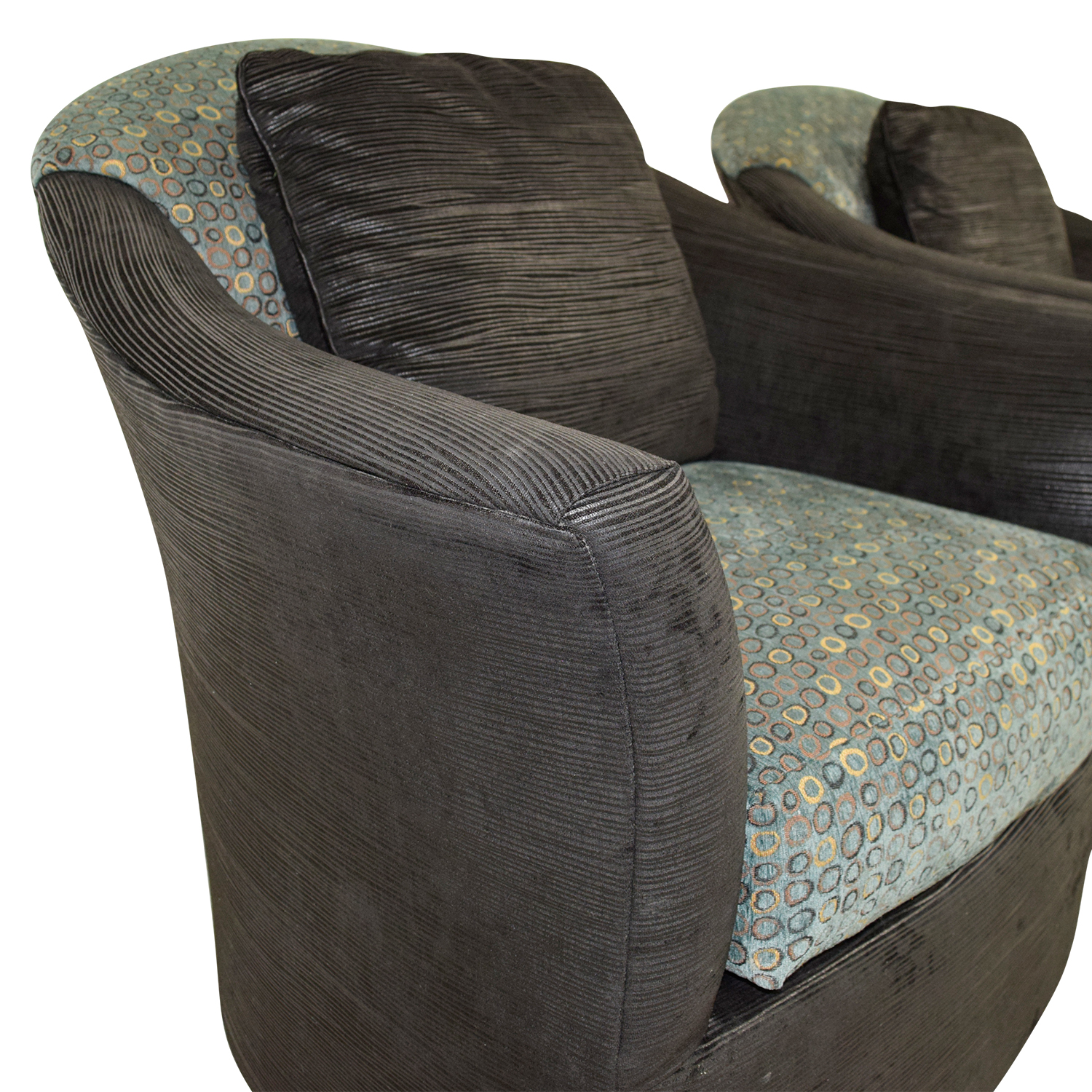 Fairfield Fairfield Barrel Black Blue and Gold Accent Chairs nyc