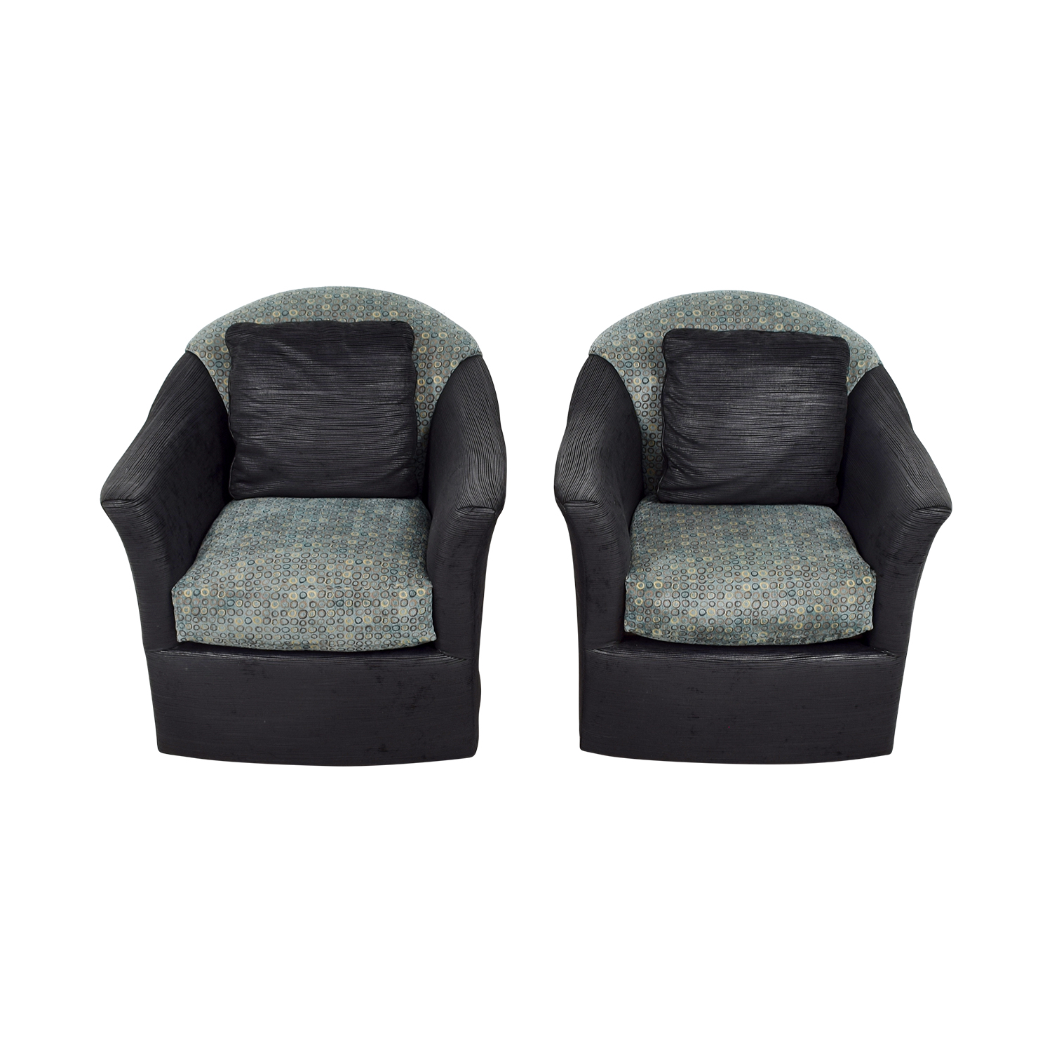 Fairfield Barrel Black Blue and Gold Accent Chairs / Accent Chairs