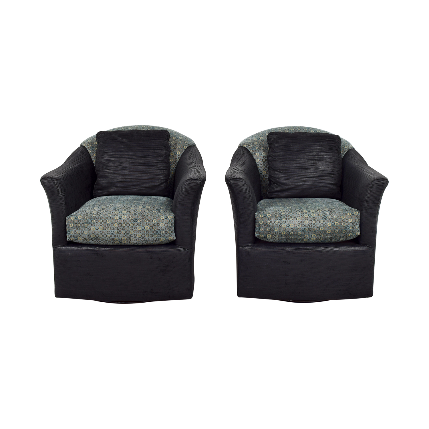 Fairfield Fairfield Barrel Black Blue and Gold Accent Chairs for sale