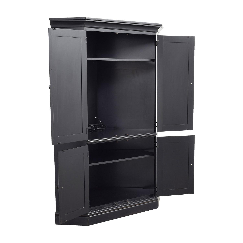 ... Black Wood Corner Media Cabinet ...  sc 1 st  Furnishare & 90% OFF - Black Wood Corner Media Cabinet / Storage