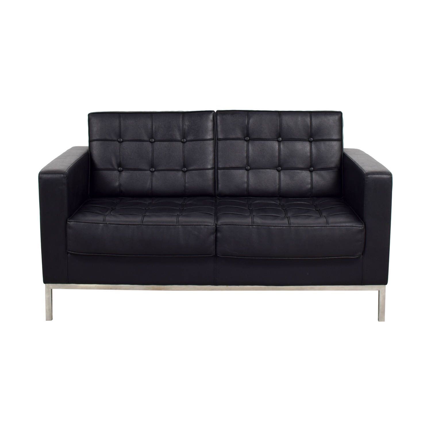 shop Black Faux Tufted Leather Loveseat Loveseats