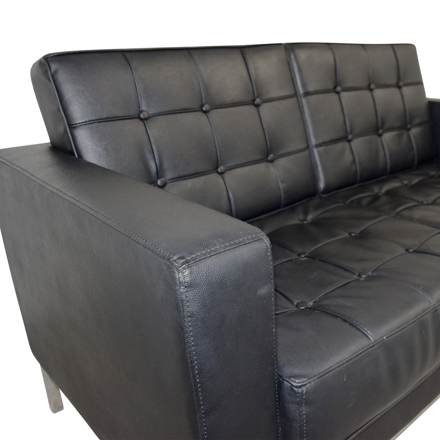 Black Faux Tufted Leather Loveseat / Sofas