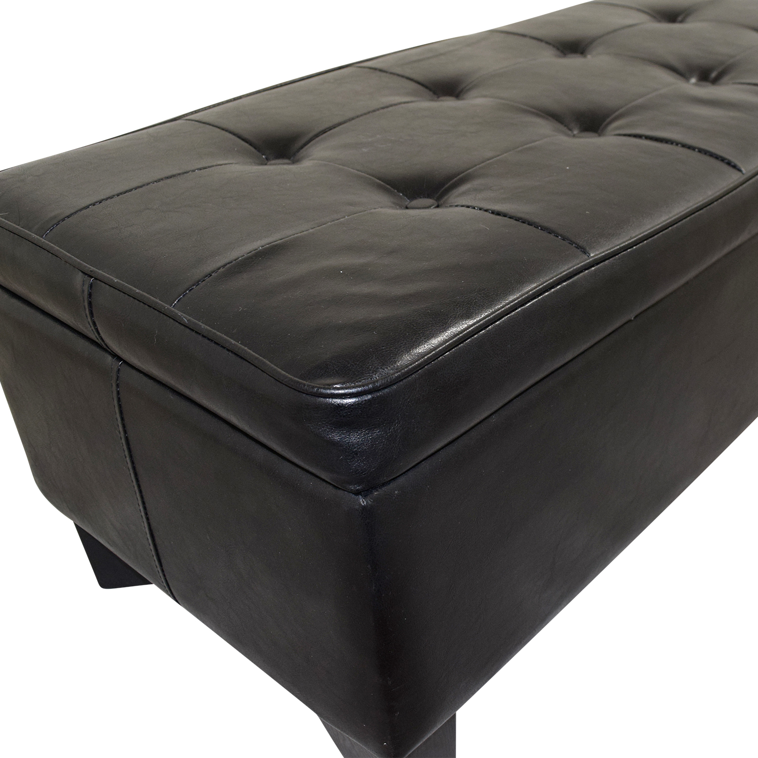 42 Off Black Tufted Faux Leather Ottoman With Storage