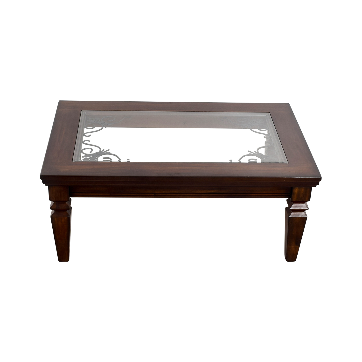 Wood Metal Scroll and Glass Coffee Table coupon