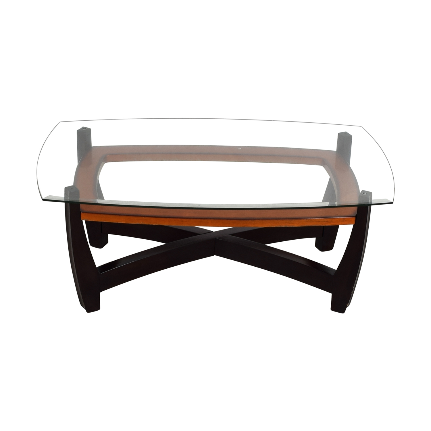 Raymour & Flanigan Rectangular Glass Top and Wood Coffee Table / Sofas