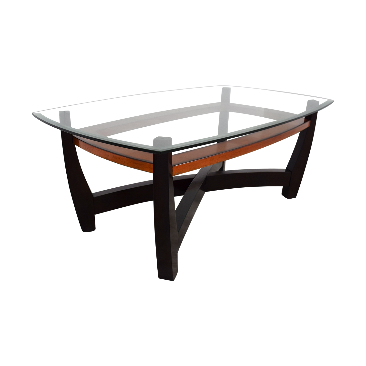 76 off raymour flanigan raymour flanigan rectangular glass top and wood coffee table tables. Black Bedroom Furniture Sets. Home Design Ideas