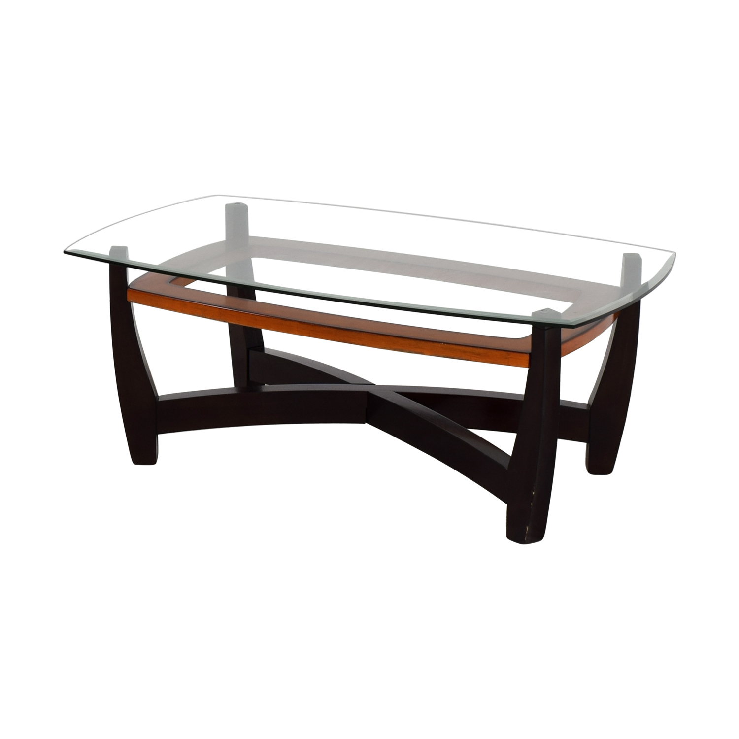75 Off Raymour Flanigan Raymour Flanigan Rectangular Glass Top And Wood Coffee Table Tables