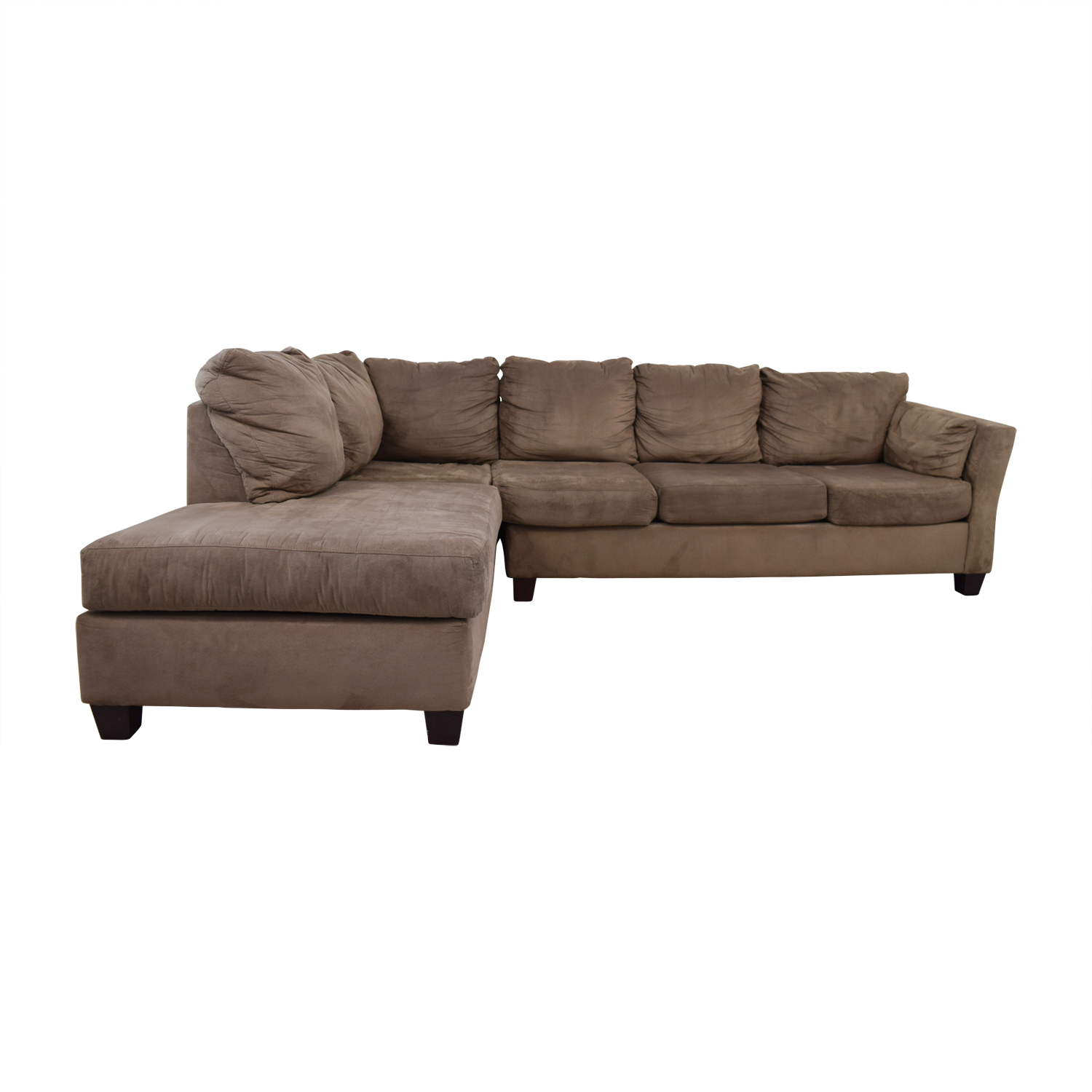 52 Off Bob S Furniture Brown Microfiber Sectional Sofas
