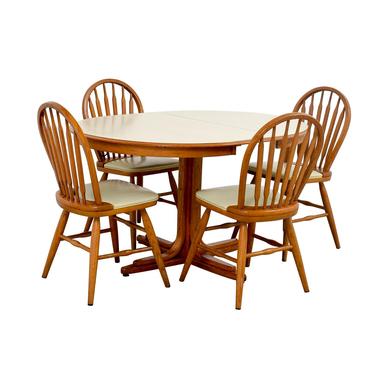 90 off white wood dining set with extendable leaf. Black Bedroom Furniture Sets. Home Design Ideas