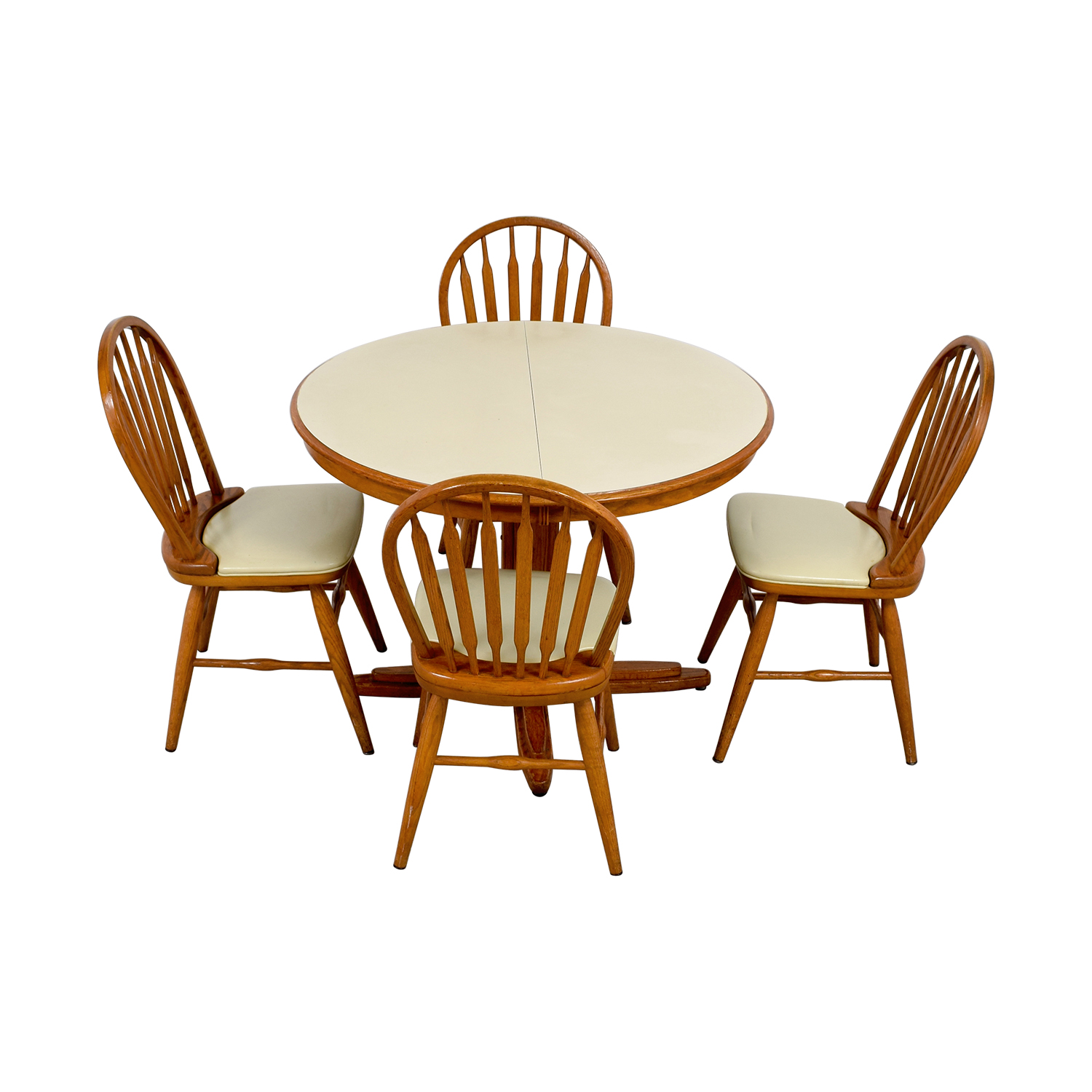 White Wood Dining Set: White & Wood Dining Set With Extendable Leaf