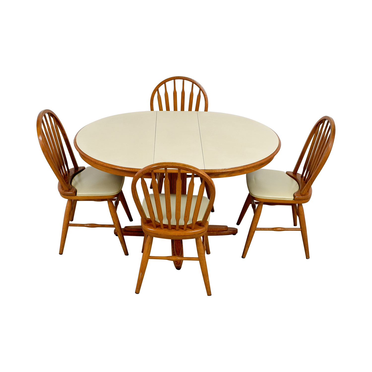 shop White & Wood Dining Set with Extendable Leaf Dining Sets