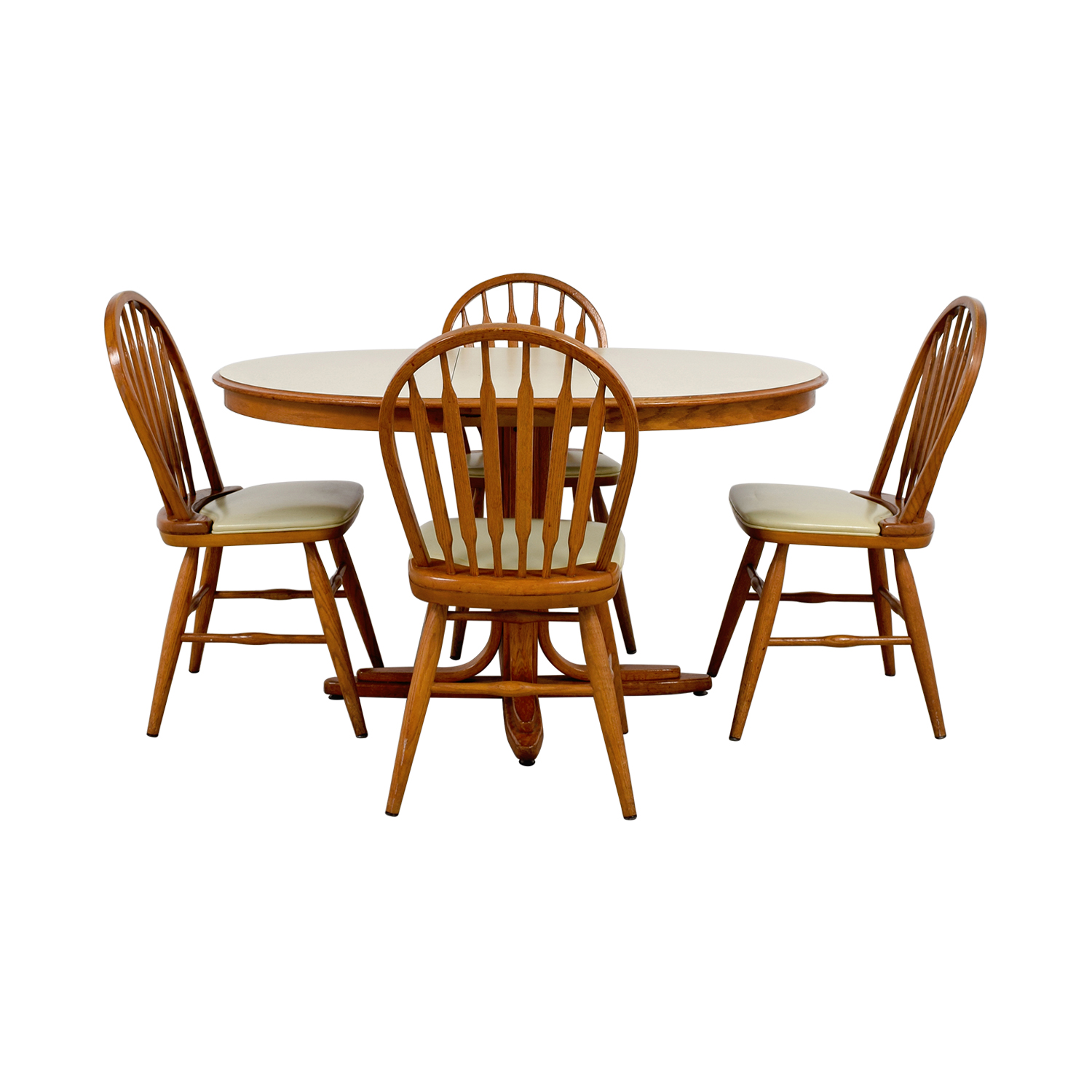 White & Wood Dining Set with Extendable Leaf for sale